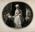A woman doing her needlework next to a sleeping infant with Wellcome V0047972.jpg