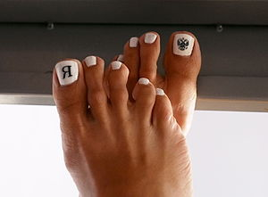 Pedicure - A woman's feet after a pedicure