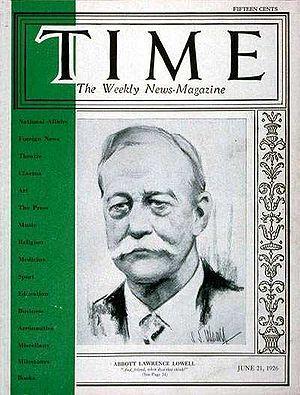 Secret Court of 1920 - Harvard University President Abbott Lawrence Lowell on the cover of TIME Magazine, June 21, 1926