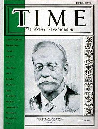 Secret Court of 1920 - Harvard University President Abbott Lawrence Lowell on the cover of TIME Magazine, June 21, 1926