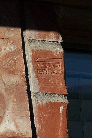 Acme Brick - Acme Brick stamps its logo into the end of select bricks.