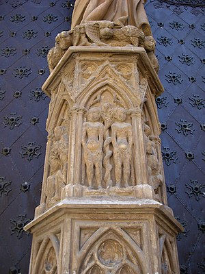Tarragona Cathedral - Adam and Eve, in the portal decoration.
