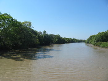 Adelaide River, crocodile far ahead (Northern ...
