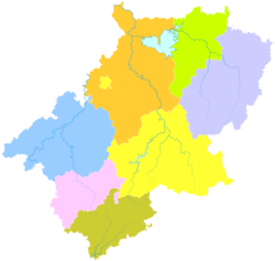 Jing County is the westernmost division in this map of Xuancheng
