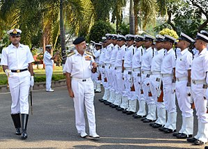 Eastern Naval Command - Admiral DK Joshi, Chief of the Naval Staff, receiving a guard of honour during a visit to the Eastern Naval Command in November 2013