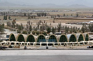 An aerial view of the Kandahar Airport in Kand...