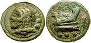 Cast coin. O/ bust of Hercules l.;three pellets. R/ Prow of galley;three pellets.