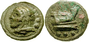 Quadrans - Cast coin. Obverse: bust of Hercules l.; three pellets. Reverse: prow of galley; three pellets.