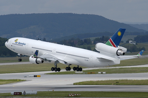 Air Namibia - An Air Namibia McDonnell Douglas MD-11 takes off from Zurich Airport in 2005.