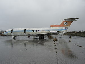 Cyprus Airways - Remains of Cyprus Airways Hawker-Siddeley Trident abandoned at Nicosia Airport since 1974