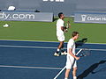 Aisam-ul-Haq Qureshi and Sam Querrey at the 2009 Indianapolis Tennis Championships 01.jpg