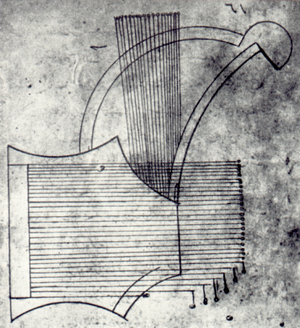 "Shahrud - Illustration from Al-Fārābī (about 870-950): Kitāb al-mūsīqī al kabīr Drawing of a musical instrument, called """"šāh-rūd"""")"