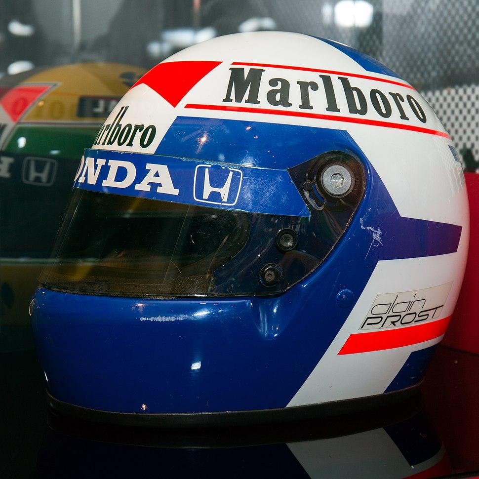 Alain Prost 1988 helmet left 2015 Honda F1 Exposition