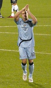 Smith applauding Newcastle supporters.