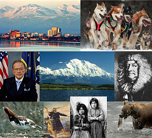 Outline of Alaska - clockwise from top left, Anchorage, sled dogs, Vitus Bering, brown bear with salmon, two Tlingit girls, an Aleut man, willow ptarmigan, Senator Ted Stevens, Denali (center)