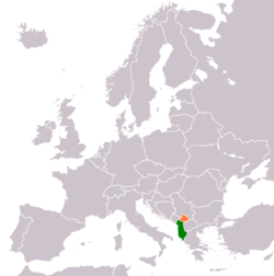 Map indicating locations of Albania and Kosovo