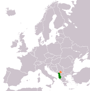 Unification of Albania and Kosovo - Location of Albania (green) and Kosovo (orange) within Europe.