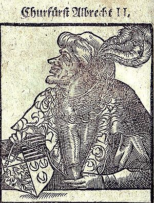 Albert II, Duke of Saxony - Woodcut by Balthasar Mencius (Menz), 1596, showing Albert II holding the Saxon coat-of-arms. Inscription: Churfürst Albrecht II. (trl. Prince-Elector Albert II)