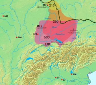 Η περιοχή όπου κατοικούσαν οι Αλαμαννοί κατά την ύστερη αρχαιότητα. Σημειώνονται οι τοποθεσίες και ημερομηνίες των κυριότερων αλαμαννο-ρωμαϊκών μαχών.