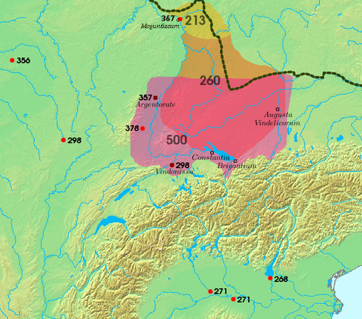 Area settled by the Alemanni, and sites of Roman-Alemannic battles, 3rd to 6th centuries (Wikipedia)