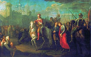 Grigory Ugryumov - Image: Alexander Nevsky in Pskov, after they victory over the Germans (Grigoriy Ugryumov)