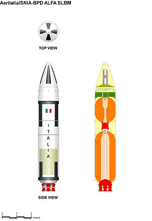 Italian nuclear weapons program - Italian Alfa missile side and cutaway views