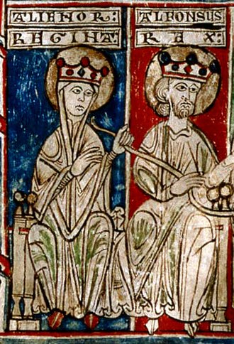 Heraldry of Castile - Miniature depicting King Alfonso VIII of Castile, that adopted a castle as device, and his wife Eleanor of England