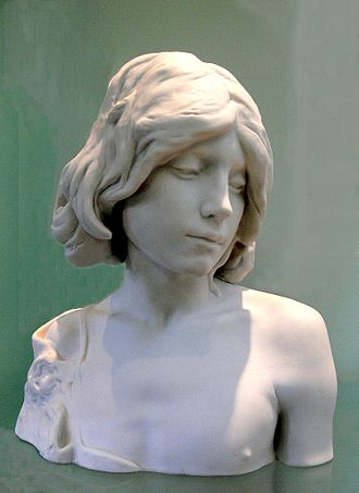 Biscuit porcelain - Bisque bust of 1883, representing the young John the Baptist