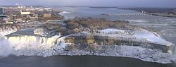 American Falls and Goat Island in winter from Skylon Tower