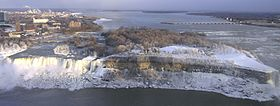 American Falls and Goat Island in winter from Skylon Tower.jpg