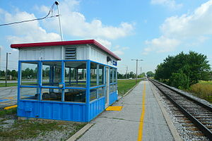 "Dyer station - The old Amtrak shelter station at Dyer before replacement, looking ""railroad west"" (compass northwest) towards Chicago."