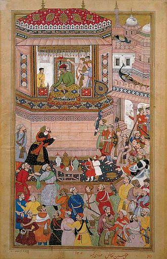 Naubat Khan - Hussain Quli presents prisoners of war to Akbar, a view of the bin player Naubat Khan (in white dress holding Rudra Vina), illustration from the Akbar-nama, Mughal school, towards 1590.Victoria & Albert Museum U.K.
