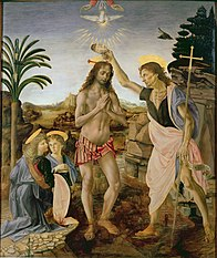 Painting showing Jesus, naked except for a loin-cloth, standing in a shallow stream in a rocky landscape, while to the right, John the Baptist, identifiable by the cross that he carries, tips water over Jesus' head. Two angels kneel at the left. Above Jesus are the hands of God, and a dove descending