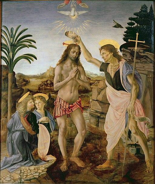 Andrea del Verrocchio, Leonardo da Vinci - Baptism of Christ - Uffizi