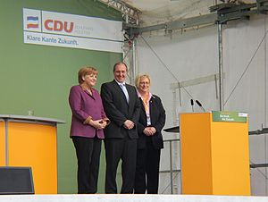Schleswig-Holstein state election, 2012 - Angela Merkel, Jost de Jager and Susanne Herold (L to R)