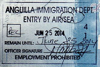Visa policies of British Overseas Territories - Anguilla passport stamp