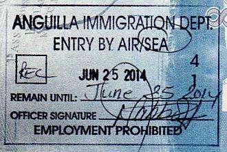 Visa policies of British Overseas Territories - Anguilla passport stamp