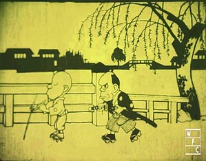 Anime - A cel from Namakura Gatana, the earliest surviving Japanese animated short made for cinemas, produced in 1917