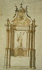 Design for an altar with bishop
