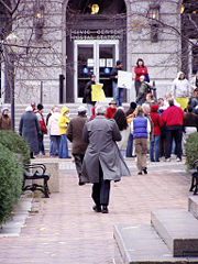 Herb Bergson, former Mayor of Duluth, walking to an anti-poverty rally in November 2005