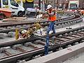 Anzin & Valenciennes - Travaux de raccordement des lignes A & B du tramway de Valenciennes à la Croix d'Anzin le 20 août 2013 (05).JPG
