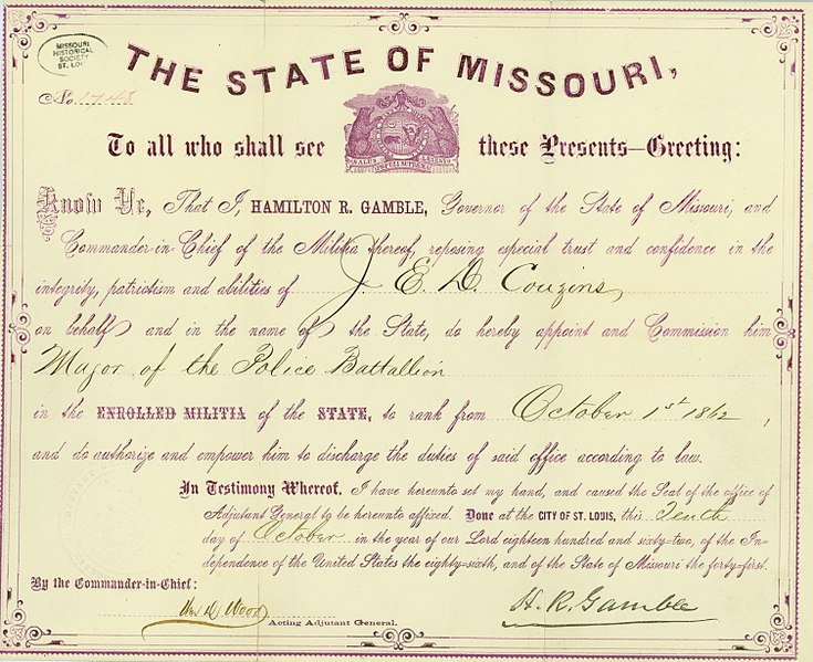 File:Appointment of J.E.D. Couzins as Major of the Police Battalion in the State of Missouri, October 10, 1862.jpg