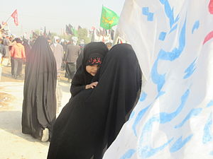 Arba'een Pilgrimage - A little girl participating 2015 Arbaeen pilgrimage with her mother