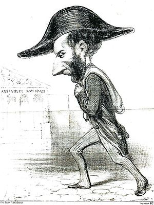 "Ariste Jacques Trouvé-Chauvel - Caricature by Honoré Daumier, December 1848. The caption reads in part ""Rigid guardian of the Republic, citizen Trouve-Chauvel is never separated from the treasure when he goes to the National Assembly. It is true that it is very easy to carry on his shoulder...""."
