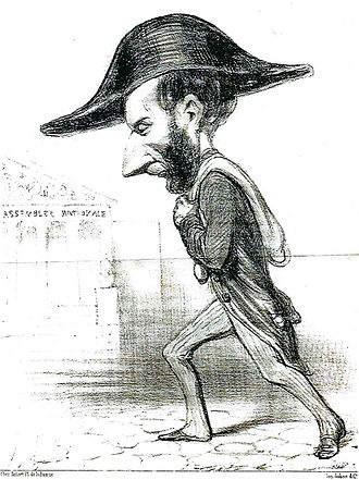 """Ariste Jacques Trouvé-Chauvel - Caricature by Honoré Daumier, December 1848. The caption reads in part """"Rigid guardian of the Republic, citizen Trouve-Chauvel is never separated from the treasure when he goes to the National Assembly. It is true that it is very easy to carry on his shoulder...""""."""