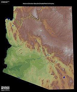 Relief map showing arc-shaped desert north and northeast of Mogollon Plateau and Mogollon Rim.