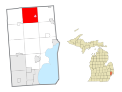 Location within Macomb County (red) and the administered village of Armada (pink)