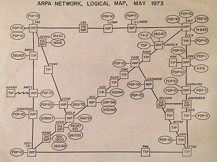 ARPANET network map from 1973 listing Case as an Interface Message Processor (IMP) node. Arpanet map 1973.jpg