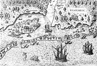 Pamlico - The Arrival of the Englishmen in Virginia, 1607.