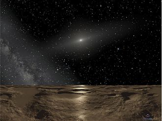 90377 Sedna - Artist's conception of the surface of Sedna, with the Milky Way, Antares, the Sun and Spica above